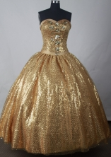 Luxuriously Ball Gown Strapless Floor-length Gold Quinceanera Dress LJ2638