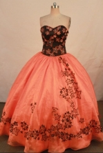 Modern ball gown sweetheart-neck floor-length rust red quinceanera dresses FA-X-166