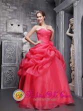 Organza Beading and Ruch Decorate Pick-ups Coral Red Quinceanera Dress With Sweetheart  in Acajutla  El Salvador Style QDML061FOR