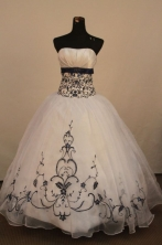 Perfect Ball Gown Strapless Floor-Lengtrh White Appliques Quinceanera Dresses Style FA-S-191