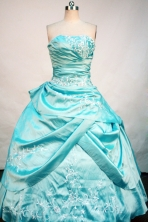Popular Ball Gown Strapless Floor-Length Aqua Blue Beading and Appliques Quinceanera Dresses Style FA-S-172