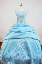 Popular Ball Gown Strapless Floor-Length Blue Beading and Appiques Quinceanera Dresses Style FA-S-156