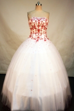 Popular Ball Gown Strapless Floor-Length White Beading and Appliques Quinceanera Dresses Style FA-S-170