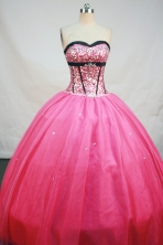 Pretty Ball Gown Sweetheart Neck Floor-Length Hot Pink Beading and Appliques Quinceanera Dresses Style FA-S-165