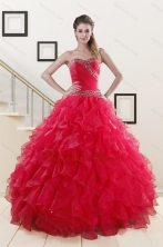 Pretty Sweetheart Ball Gown 2015 Sweet 16 Dresses in Coral Red XFNAO032FOR