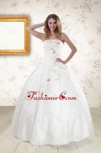 Pretty White Strapless Embroidery 2015 Sweet 16 Dresses XFNAO275FOR