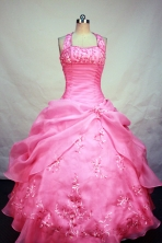 Roamntic Ball Gown Halter Top Neck Floor-Length watermelon Beading and Appliques Quinceanera Dresses Style FA-S-175