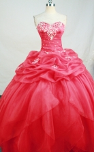 Roamntic Ball Gown Sweetheart Neck Floor-Length Hot Pink Beading and Appliques Quinceanera Dresses Style FA-S-161
