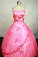 Roamntic Ball Gown Sweetheart Neck Floor-Length watermelon Beading and Appliques Quinceanera Dresses Style FA-S-176