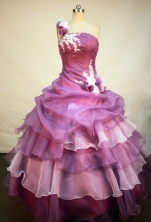 Romantic Ball Gown One Shoulder Neck Floor-Length Lavender Beading and Appliques Quinceanera Dresses Style FA-S-171