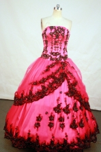 Romantic Ball Gown Strapless Floor-Length Hot Pink Beading and Appliques Quinceanera Dresses Style FA-S-181