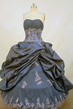 Romantic Ball Gown Strapless Floor-Length Navy Blue Appliques Quinceanera Dresses Style FA-S-197