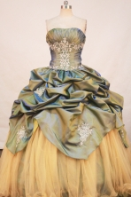 Romantic Ball Gown Strapless Floor-Length Olive Green Appliques and Beading Quinceanera Dresses Style FA-S-198