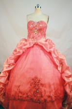 Romantic Ball Gown Sweetheart Neck Floor-Length Orange Red Beading and Appliques Quinceanera Dresses Style FA-S-180