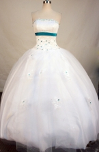 Simpel Ball Gown Strapless Floor-Length White Beading Quinceanera Dresses Style FA-S-151