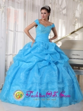 Sky Blue Off The Shoulder Taffeta and Organza Quinceanera Dress With Deads and Pick-ups in Soyapango   El Salvador  Style PDZY595FOR