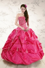 Strapless Hot Pink Quinceanera Dress with Appliques for 2015 XFNAO5858FOR