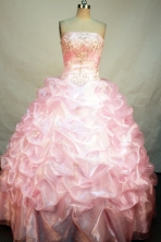 Sweet Ball Gown Strapless Floor-Length Baby Pink Beading and Appliques Quinceanera Dresses Style FA-S-173