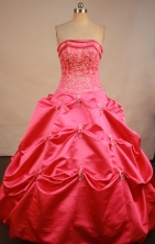 Sweet Ball Gown Strapless Floor-Length Hot Pink Beading and Appliques Quinceanera Dresses Style FA-S-184