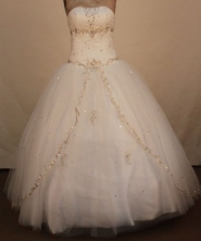 Sweet Ball Gown Strapless Floor-Lengtrh White Beading Quinceanera Dresses Style FA-S-207