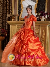 Sweetheart Taffeta Appliques and Beading Decorate Orange Quinceanera Dress with Pick-ups  in Soyapango   El Salvador  Style QDML069FOR