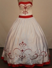 The Most Pouplar Ball Gown Strapless Floor-Lengtrh White Embroidery Quinceanera Dresses FA-S-202