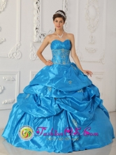 Wonderful Sweetheart Quinceanera Dress Taffeta Blue Appliques  For Celebrity IN La Unian   El Salvador Style QDZY191FOR