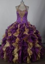 2012 Brand New Ball Gown Halter Top Neck Floor-Length Quinceanera Dresses Style JP42682