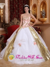 2013 Almolonga Guatemala Strapless White and Pink Beading and Appliques Quinceanera Organza Gowns With Hand Made Flowers Style QDZY427FOR
