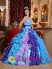2013 Asuncion Mita Guatemala Prom Beading and Appliques Decorate Multi-color Stylish Quinceanera Dress With Sweetheart Neckline Style QDZY513FOR