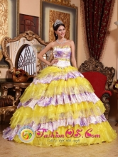 2013 Chimaltenango Guatemala Spring Sweetheart Beading and Ruffles Wholesale Multi-color Quinceanera Organza Gowns Style QDZY754FOR