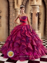 2013 Jalapa Guatemala Customer Made Ruffles Decorate Bodice Brand New Multi-color Quinceanera Dress Strapless Organza Ball Gown Style QDZY259FOR