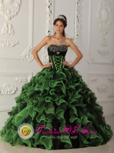 2013 San Jos Pinula Guatemala Beaded Decorate Bust Green and Black Ruffles Layered For Quinceanera Dress Style QDZY336FOR