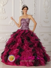 2013 San Pedro Ayampuc Guatemala Multi-color Leopard and Organza RufflesQuinceanera Dress With Sweetheart Neckline Style QDZY009FOR