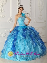 2013 San Pedro Sacatepquez Guatemala Aqua Blue Discount One Shoulder Quinceanera Dress Beading Satin and Organza Ball Gown Style QDZY329FOR