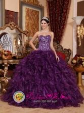 2013 Santa Catalina la Tinta Guatemala Customzied Strapless Dark Purple Sequins Bodice Ruffles Sweetheart Quinceanera Dress Style QDZY698FOR