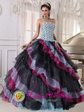 2013 Tecpan Guatemala Guatemala Multi-color Quinceanera Dress Appliques With Beading and ruffles For Fall Strapless Organza Ball Gown Style PDZY553FOR