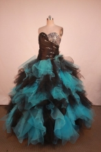 Colorful Ball Gown Sweetheart Neck Floor-Length Blue Beading Quinceanera Dresses Style FA-S-266