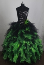 Exclusive Ball Gown Sweetheart Floor-length Black And Green Quincenera Dresses TD260057