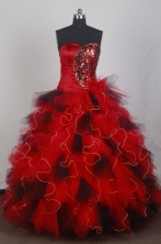 Exclusive Ball Gown Sweetheart Neck Floor-length Red Quinceanera Dress LZ426048