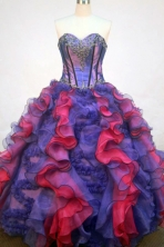 Gorgeous Ball Gown Sweetheart Floor-length Purple Organza Appliques Quinceanera dress Style FA-L-242