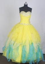 Gorgeous Ball Gown Sweetheart Neck Floor-length Yellow Quinceanera Dress LZ426033