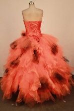 Luxurious Ball Gown Sweetheart Neck Floor-Length Orange Beading Quinceanera Dresses Style FA-S-260