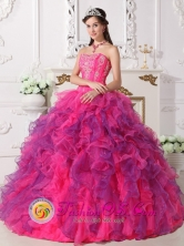 Momostenango Guatemala Organza Multi-color 2013 Quinceanera Dress Sweetheart Ruffled Ball Gown Style QDZY060FOR