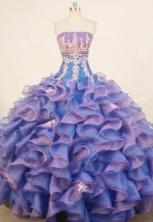 Popular ball gown strapless floor-length organza appliques purple quinceanera dresses FA-X-176