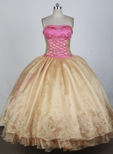 Romantic Ball Gown Strapless Floor-length Champagne Quinceanera Dress X0426073