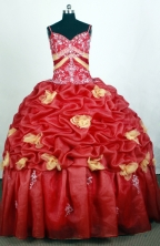 Beautiful Ball Gown Straps Floor-length Red Quinceanera Dress Y042658
