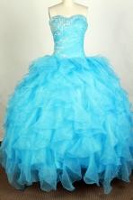 Beautiful Ball Gown Sweetheart Floor-length Aqua Quinceanera Dress Y042645