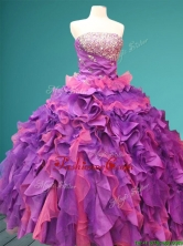 Best Beaded and Ruffled Quinceanera Dress in Purple and Pink SWQD087FOR