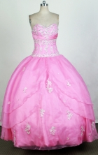 Cute Ball Gown Sweetheart Floor-length Pink Quinceanera Dress Y042637